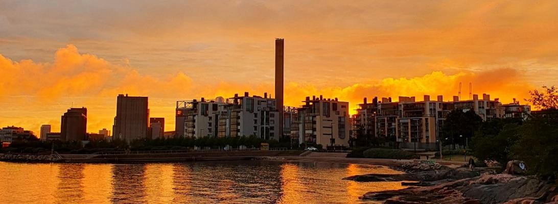 Auringonlasku Helsingissä
